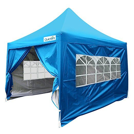 Quictent Silvox Waterproof 8x8' EZ Pop Up Canopy Commercial Gazebo Party Tent Light Blue Portable Pyramid-roofed Style Removable Sides With Roller Bag
