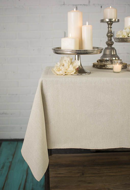 Linen Tablecloth, Square Table Cover, 54 In.