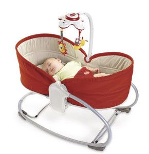 Tiny Love Rocker/Bassinet -- Rocker by day/bassinet by night. Baby can sleep here for the first 6 months or so. Very versatile product! ~ $79