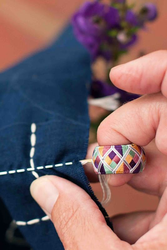 I lived in Japan for three years in the early nineties and, while there, I studied sashiko quilting. I'm thinking this thimble will work beautifully when trying to push those long sashiko needles through fabric.