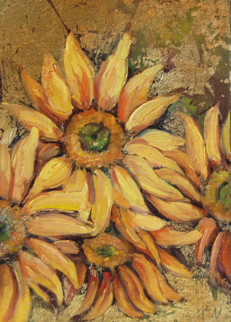 Summer Gold, oil on metal leaf, 5x7 Sunflowers, gold leaf, oil painting