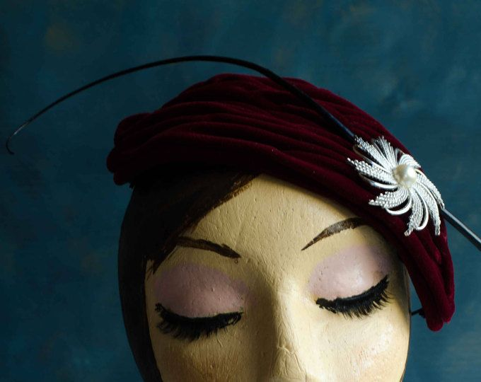 Red velvet, ruched fabric, vintage style, fascinator, headpiece, black quill, vintage brooch detail