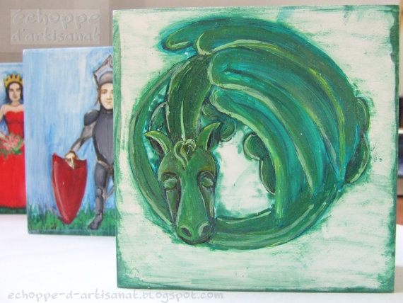 Sleeping green dragon oil painting by EchoppedArtisanat on Etsy, $80.00