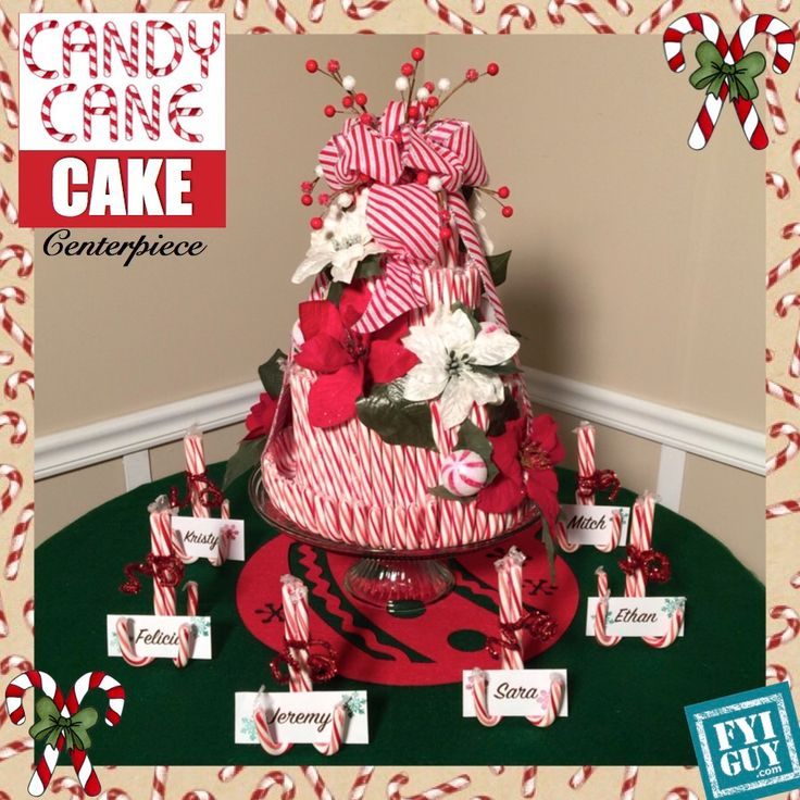 Candy cane cake centerpiece jeremy rabe projects for Candy cane holder candle centerpiece