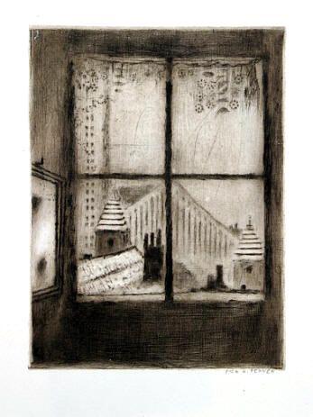 Bohuslav Reynek Mansarda suchá jehla / dry-point 20,5 x 15,5 cm, 1950 otisk z původní desky, opus G273