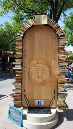 """Door of knowledge - and it's also a """"Little Library!"""" Streets alive project in Orillia Ontario is in full swing. The local street art project features the """"Doors of Orillia"""" and includes this inspiring door which doubles as a free library!"""