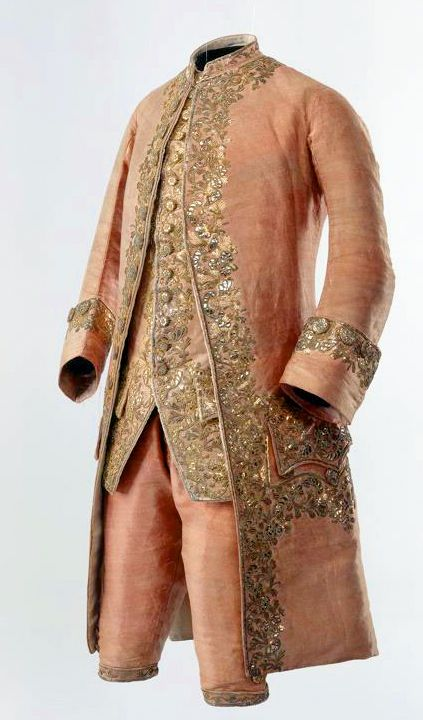 Suit (men), 1780, Switzerland. Pink silver brocade with rich embroidery in gold. Consisting of Frockcoat, waistcoat and breeches. Silk embroidered. Swiss National Museum.
