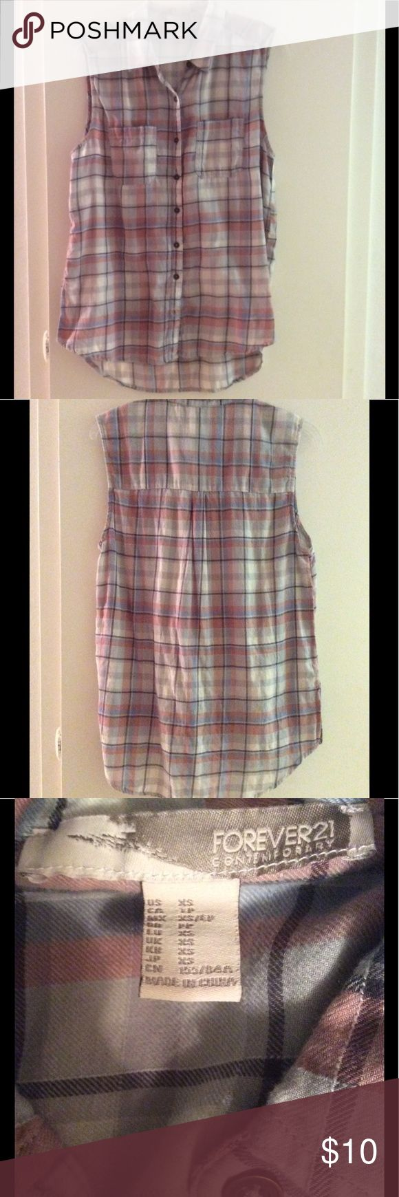 Forever 21 sleeveless flannel tunic Adorable top, looks great with white jeans. Worn once, perfect condition Forever 21 Tops Tunics