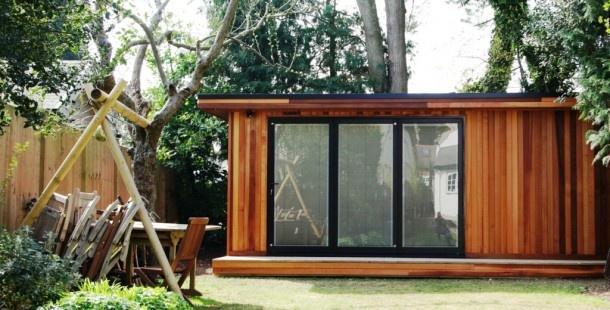 Like the large sliding windows and wood cladding