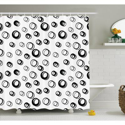 "Ambesonne Geometric Circle Abstract Various Round Pattern Reflections Decorations Minimalist Shower Curtain Set Size: 75"" H x 69"" W x 1"" D"