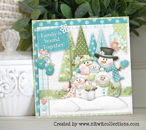 Cute Snowman card for the perfect family that you know and love! This winter themed card is perfect to send to someone to let them know how much you admire and love them. Card created using Snow Family Collection by Nitwit Collections
