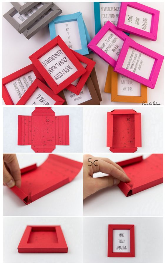 truebluemeandyou:DIY Paper Frame Tutorial and Printable from&nbsp;kreativbuehne.&nbsp;These folded paper frames are quite small - but nice <i>рама для картины самостоятельно</i> for quotes, postcards, kids' art, and anything else you want to highlight.