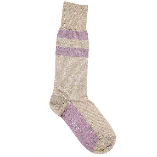 Marni Double-Stripe Silk-Blend Socks ($38) ❤ liked on Polyvore featuring intimates, hosiery, socks, beige, beige socks and marni