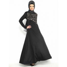 Taşlı Elbise - Siyah - Refka