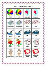 English worksheet: TOYS - MEMORY GAME - PART 1