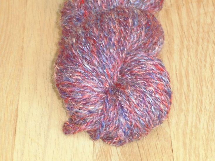 Handspun, DK Weight 2-Ply Yarn in Luxury Merino, Silk And Baby Alpaca. Tricolore, Red, Blue, White, Handspund Sport Merino Yarn , EU-SELLER