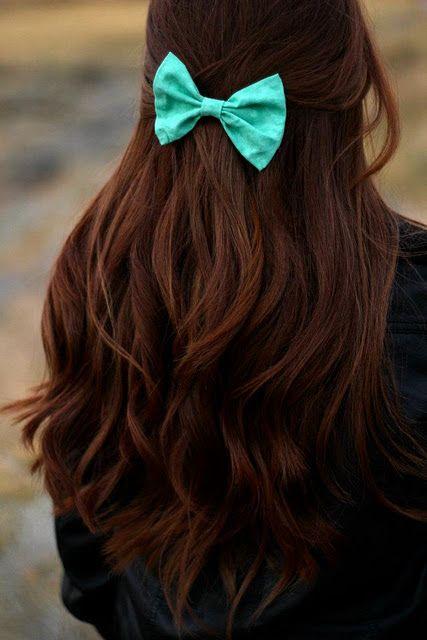 Turquoise bowBlue Bows, Hair Colors, Dark Hair, Long Hair, Tiffany Blue, Longhair, Hair Style, Hair Bows, Brown Hair