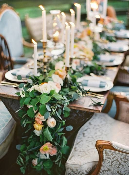 Elegant Wedding Tablescape Idea   Lush Garland Table Runner Of Silver  Dollar Eucalyptus, Garden Roses, And Poppies And Tall Candles {Petals U0026  Hedges}