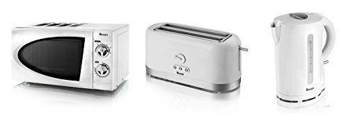 Swan Kitchen Appliance Set - WHITE Microwave, 1.7L WHITE Jug Kettle &...