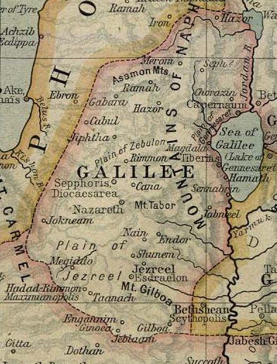 Ancient map of the Holy Land, featuring the Sea of Galilee. Contact us for your private tour guide in Israel.