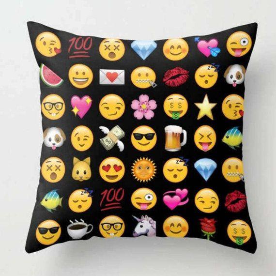 Emoji Cushion Modern Cushion Cover Black Yellow Pillow