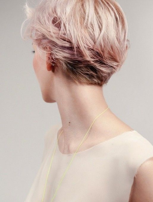 The pink is not for me, but I love the texture of the back. ~~~~ Pink Short Hairstyle 2014