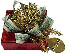Money Bow  Embellish a wrapped gift with some extra spending money