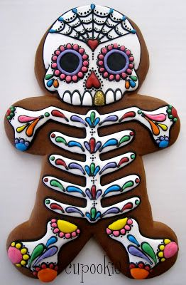A Day of the Dead decorated Gingerbread Man by cookie artisan, Cupookie. Ain't nobody got time for that!