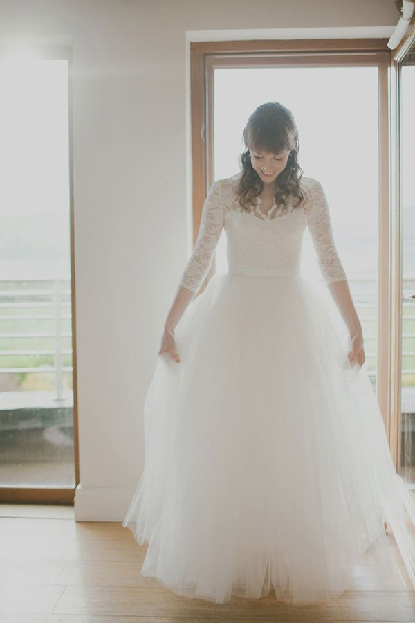 DIY wedding gown! photo by Katie Purnell http://ruffledblog.com/intimate-irish-wedding #weddingdress #lace #bridal