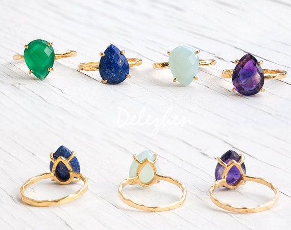 Green Raw Emerald Ring May Birthstone Ring Gemstone by delezhen