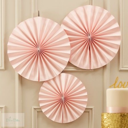 Legyező Függő Dekoráció Rózsaszín 28-36 cm Pasztell Csillogás 3 db