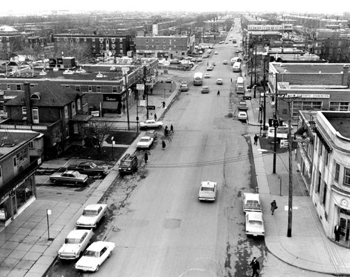 Boulevard Décarie avant sa revitalisation, 29 avril 1966, archives de la Ville de Saint-Laurent, P760