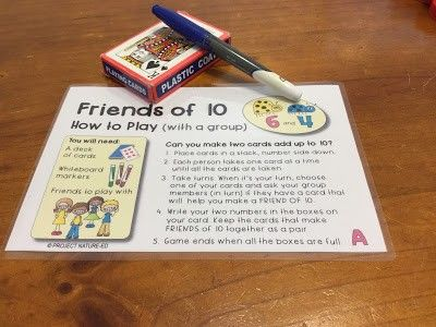 A deck of playing cards and some whiteboard markers and you're ready to go with this Friends of 10 addition activity.