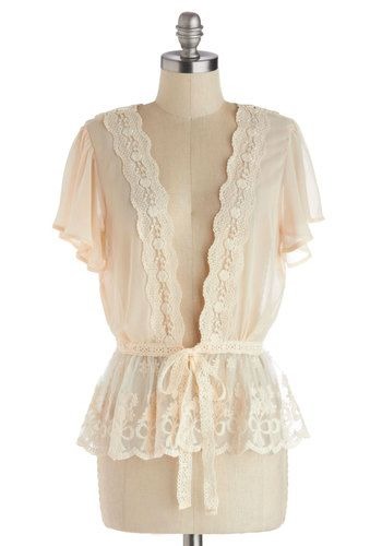 To Quiche Their Own Cardigan in Cream - Mid-length, Chiffon, Sheer, Woven, Cream, Solid, Lace, Daytime Party, Vintage Inspired, Short Sleeve...