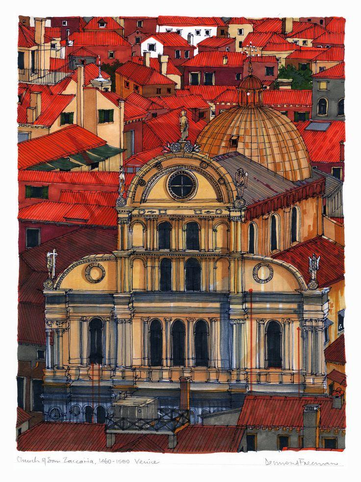 Church of San Zaccaria, Venice. #Venice #Church #Architecture #Art #Drawing #Prints