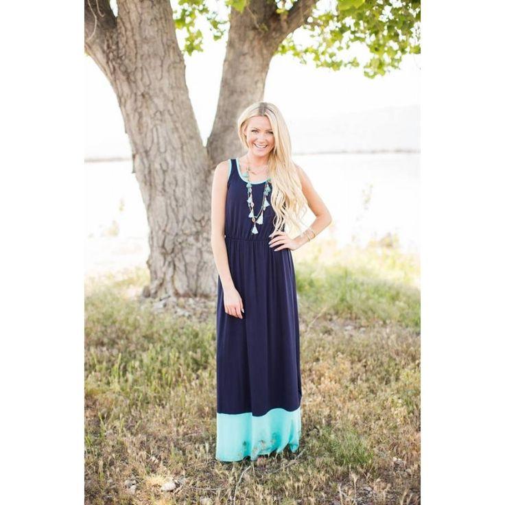 Color Block Hem Maxi Dress- Mint