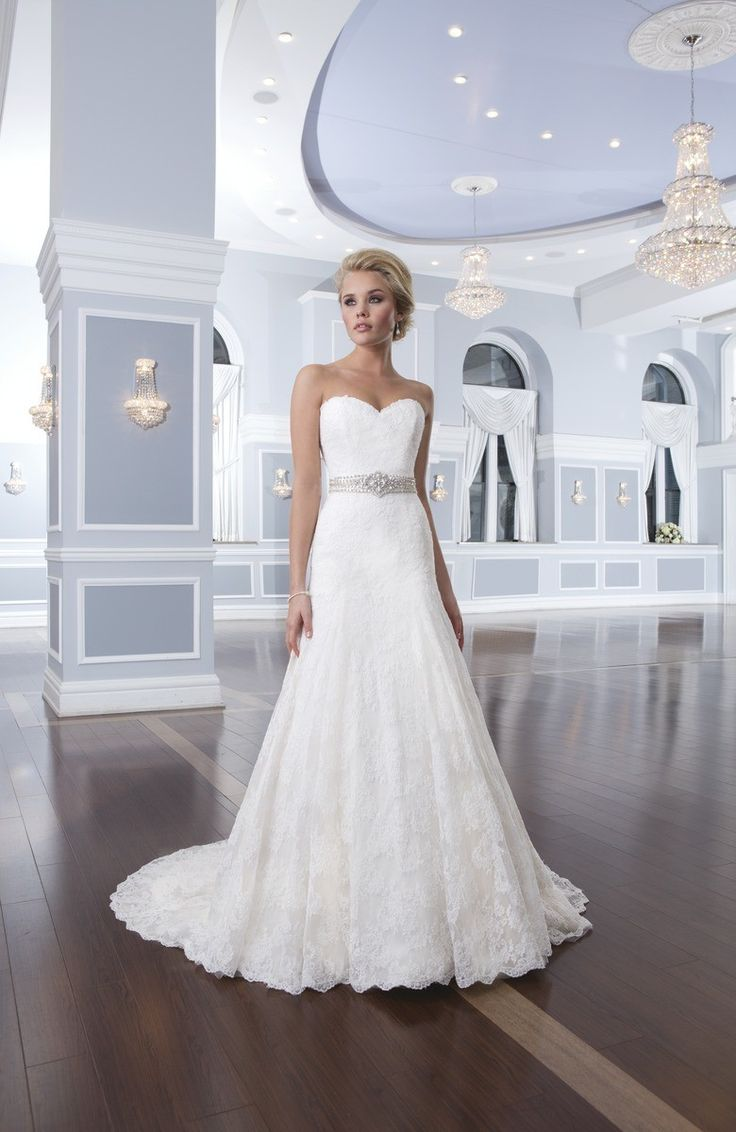 Ivory White $$$ - $1501 to $3000 A-line Beading Floor Lace Lillian West Natural Ruching Sash/Belt Sleeveless Strapless Sweetheart Wedding Dresses Photos & Pictures - WeddingWire.com