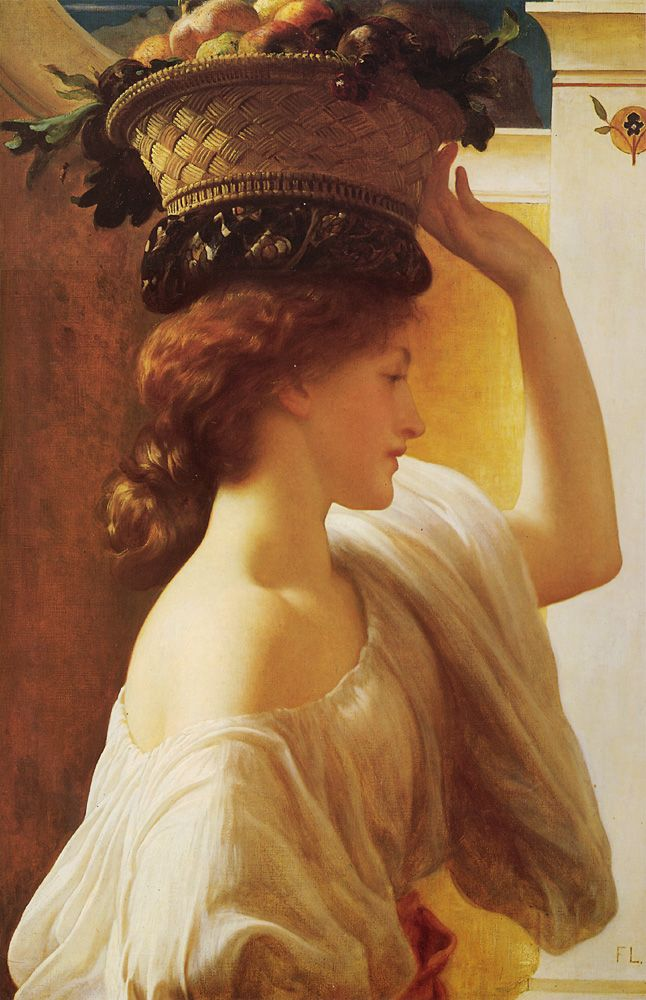 Frederic Leighton : Eucharis - A Girl with a Basket of Fruit 1863  http://www.oilpaintingshop.com/leighton/23.jpg
