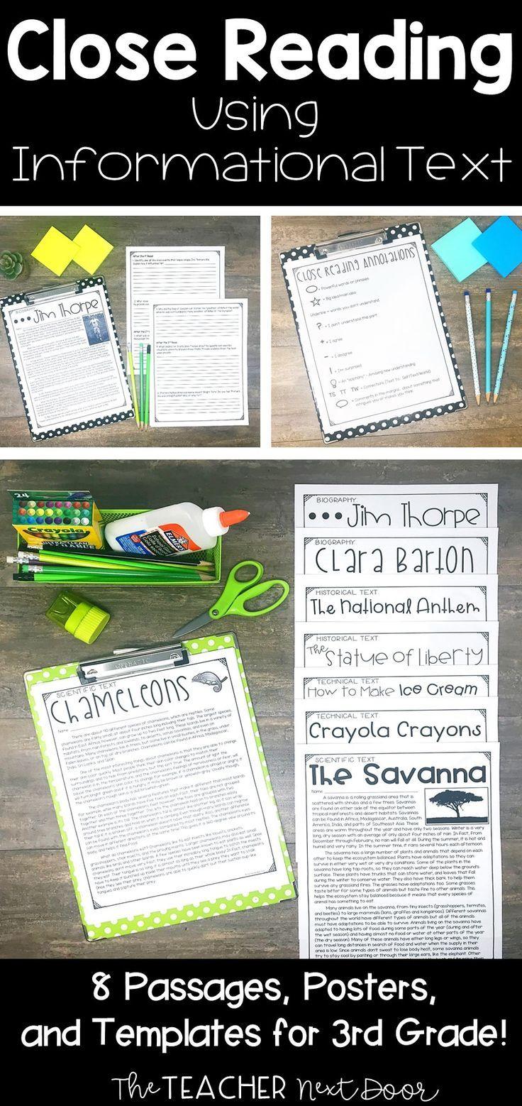 Close Reading Informational Text: 3rd Grade | Close Reading – The Teacher Next Door