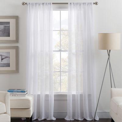 Destiny 95 Rod Pocket Sheer Window Curtain Panel In White Panel