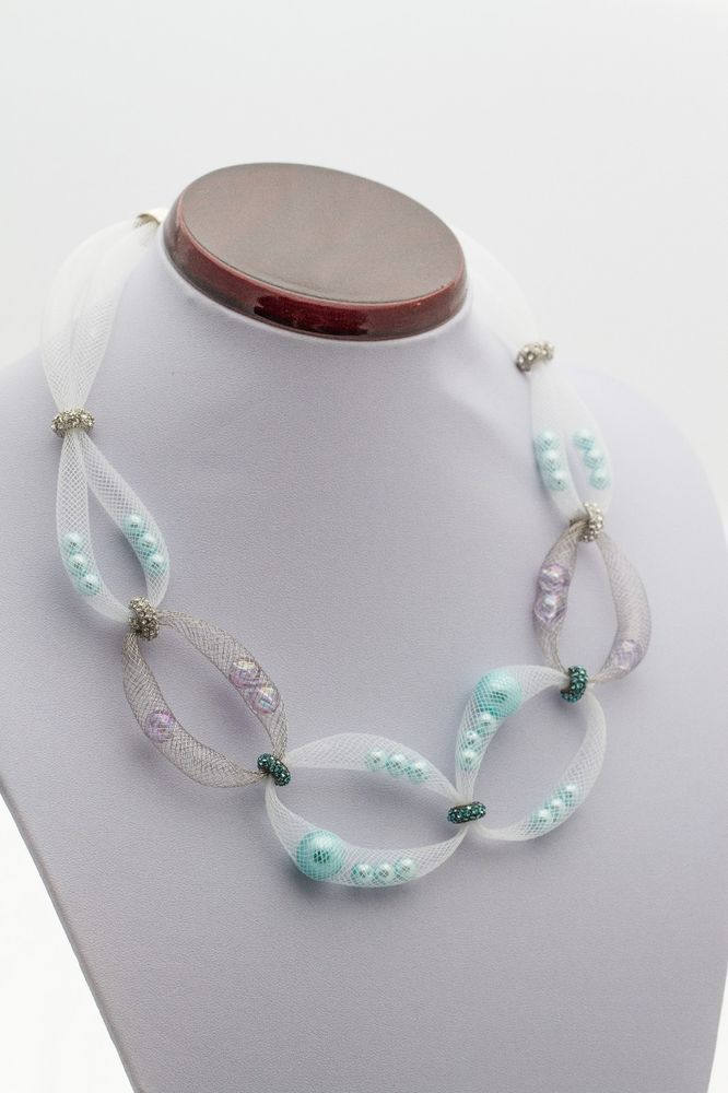 """20"""" White Plastic and Metal Mesh Tube with Iridescent Beads Necklace"""
