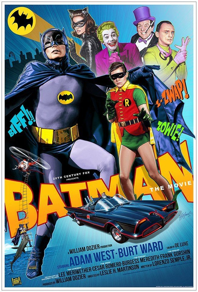Batman, often promoted as Batman: The Movie, is a 1966 film based on the Batman television series, and the first full-length theatrical adaptation of the DC Comics character Batman. Released by 20th Century Fox, the film starred Adam West as Batman and Burt Ward as Robin. The film includes most members of the original TV cast, with the notable exception of Julie Newmar as Catwoman.