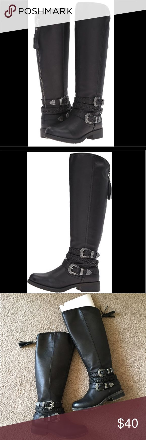 Madden Black Tall Moto Combat Carrage Boots From madden girl! Size 7.5 non smoking home. Adorable boots but I only wore them a few times, just too tall for me. Very comfortable. Carrage is the style. Very cute. Kinda Moto Combat Boho look! I have the box but unsure of how to ship it since it's pretty long. Steve Madden Shoes Combat & Moto Boots