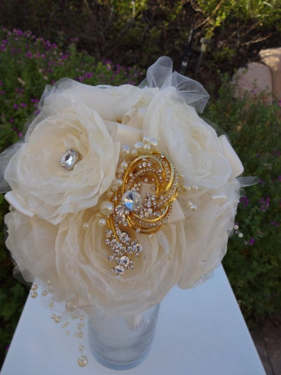 Hand made fabric flower bouquet with rhinestone brooches