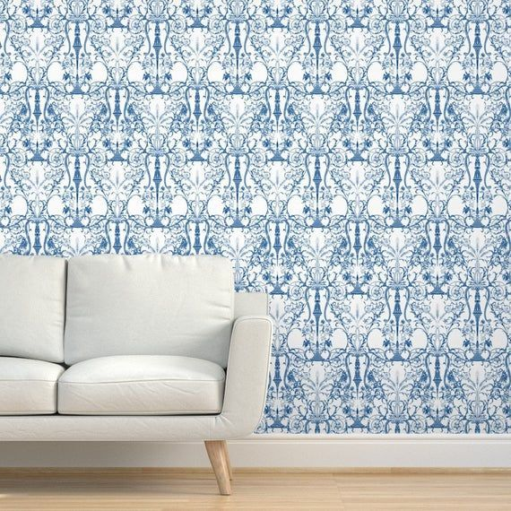 Damask Wallpaper Bedroom White Blue By Peacoquettedesigns Damask Custom Printed Removable Sel Damask Wallpaper Bedroom Wallpaper Bedroom Damask Wallpaper