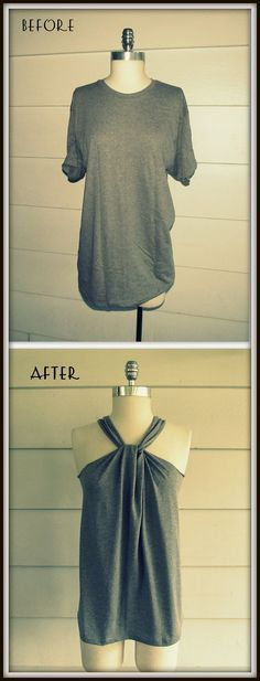 WobiSobi: No Sew, Tee-Shirt Halter #3, DIY. This site has a ton of different ways to cut up an old ugly tshirt to something cute!