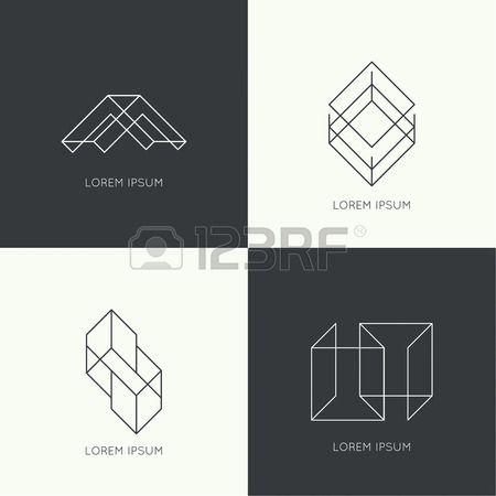 Reihe von Vektor hipster logo abzeichen Monogramm Banner Abzeichen Grenze und Rahmen Minimalistische Lizenzfreie Bilder
