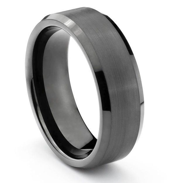 Dark Gray Tungsten Wedding Band 8 Mm Size 10 5 Rings Mens Wedding Bands Mens Wedding Rings Tungsten Mens Wedding Bands Black