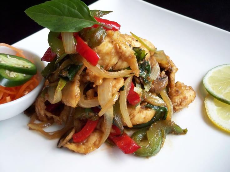 spicy basil chicken, thai