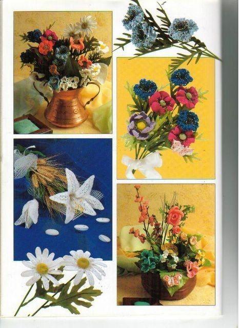 1000 mailles Bouquets de ceremonie et deco fleurie au crochet Mẫu móc cành hoa cắm lọ